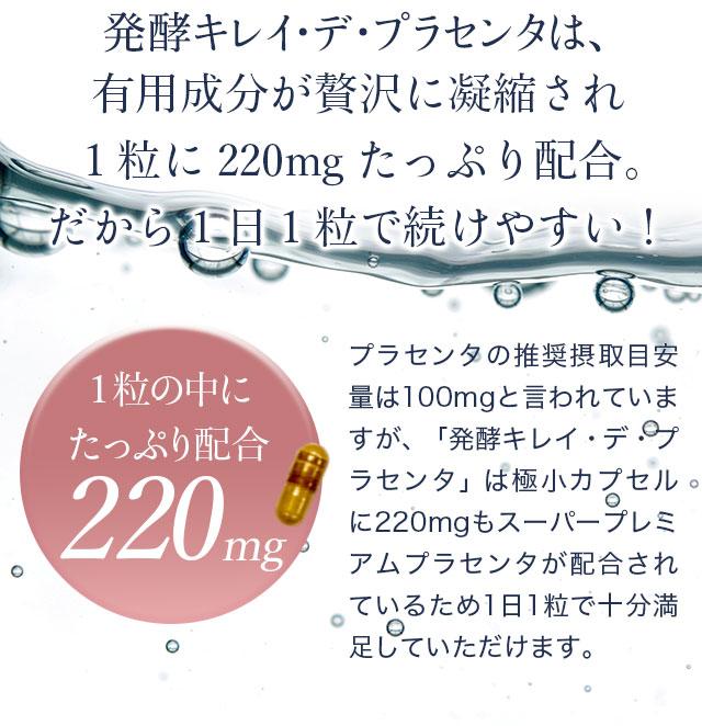 発酵キレイデプラセンタは、有用成分を220mg配合